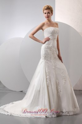 Gingle Border Wedding Dress Mermaid Strapless Lace Appliques