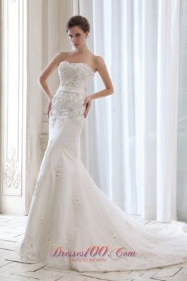 Best Wedding Dress Mermaid Appliques Strapless Court Belt