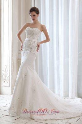 Best Wedding Dress Mermaid Appliques Strapless Court Belt