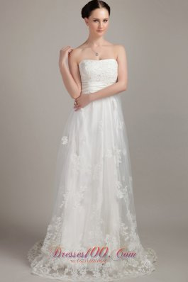 Fairy Tales White Wedding Dress Column Sweep Lace Appliques