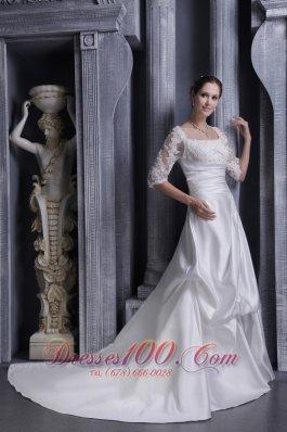 White A-line Square Lace Wedding Gowns Chapel Taffeta