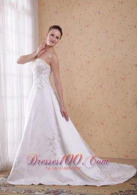 Princess Strapless Embroidery Satin Wedding Dress around 200