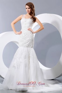 Fashionable Lace Wedding Dress Mermaid Straps Court Train