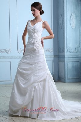 V-neck Ruch Appliques Bridal Dress Taffeta Spring