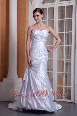 Off White Pleated Wedding Dress Column Sweetheart Ruch
