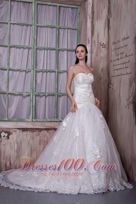 Customize Sweetheart Wedding Bridal Dress Flowers Lace