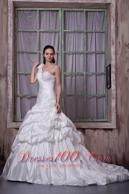Luxurious One Shoulder Church Wedding Gowns Pick-ups