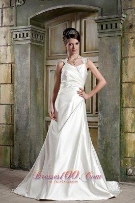 Lace Straps Wedding Dress V-neck Court Gangnam Style