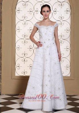 Off Shoulder Elegant Empire Wedding Bridal Dress Embroidery