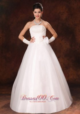Bowknot Organza Strapless Garden Maternity Wedding Gowns