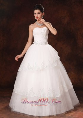 Designer Ball Gown Church Wedding Dress Appliques Tulle
