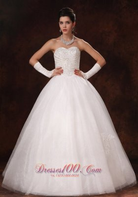 Ball Gown Sweetheart Wedding Dress Beaded Custom Made