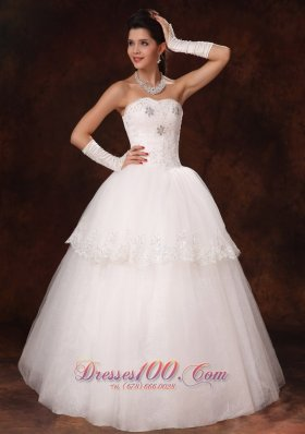 Lace Layer Crystal Sweetheart Church Wedding Dress Custom
