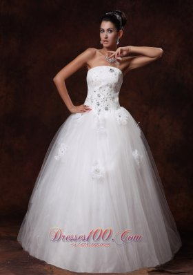 Crystal Tulle Wedding Dress Floor-length A-Line Flowers