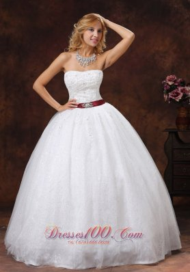 Lace Beading Decorate Ball Gown Wedding Dress Colored