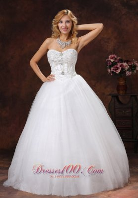 Empire Wedding Bridal Gowns Sweetheart Tulle Rhinestones