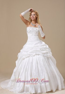 Ball Gown Wedding Dress Appliques Ruch Pick-ups
