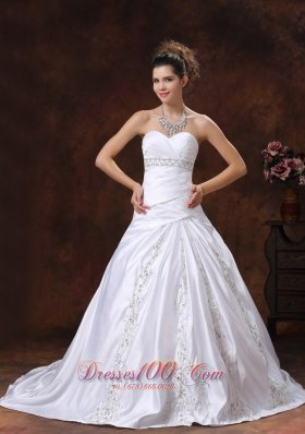 Sweetheart Embroidery Hall Wedding Dress Gilding Empire