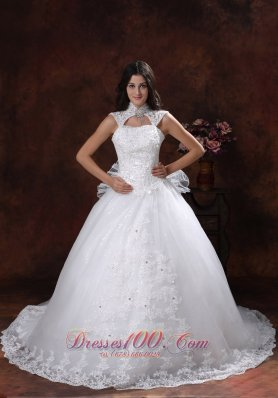 High Neckline Lace Bridal Gowns Chapel Train Lace Skirt