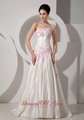 Pink Appliques Ivory Wedding Dress A-line Strapless Court