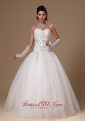 Appliques Crystal Church Wedding Dress for Custom Made