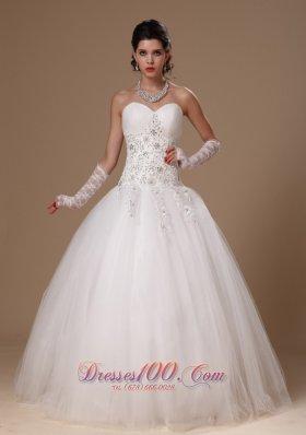 Appliques Crystal Church Wedding Dress for Custom Made