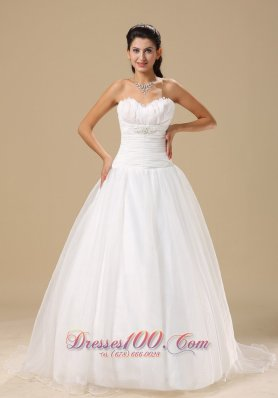 Sweetheart Wrapped Bodice Wedding Bridal Gowns Court
