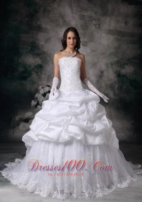 Pick-ups Ball Gown White Wedding Dress Lace Hemline Brush