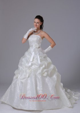 Sheath A-line Pick-ups Wedding Dress With Floral Sash