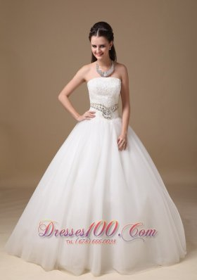 White Beaded Belt Lace Bridal Dress Ball Gown Strapless