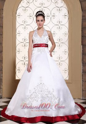 Halter Embroidery Modest Wedding Dress Colored Buttons