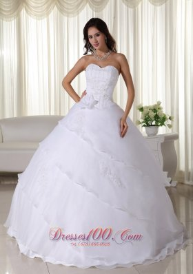 Beaded Organza Flower Sweetheart Wedding Ball Gown