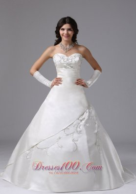 Sweetheart Satin Ball Gown Brush Wedding Dress Embroidery