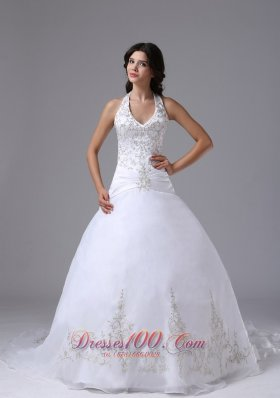 Halter Ball Gown Embroidery Brush Wedding Gowns