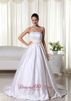 Custom Made Satin Court Train Wedding Bridal Gowns