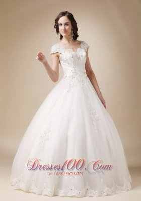 V-neck Ball Gown White Beading Wedding Dress