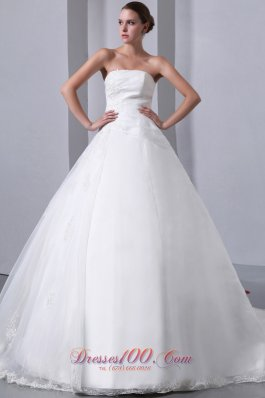 Appliques Organza Chapel Train Wedding Bridal Dress