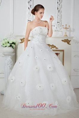 Tulle Strapless Ball Gown Beaded Wedding Dress