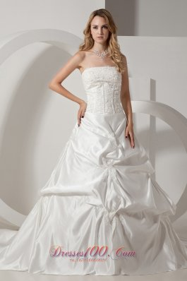 Appliques Chapel Train Pick-ups Wedding Gowns
