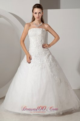 Chapel Train Wedding Dress Tulle Appliques Bridal Gowns