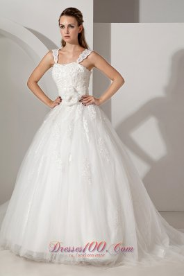Appliques Court Train Lace Wedding Dress With Straps