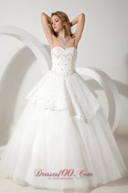 Floor Length Sweetheart Ball Gown Beading Wedding Dress