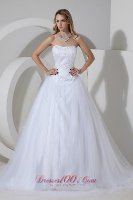 Beading Court Train Strapless Tulle Wedding Dress