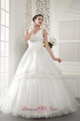 V-neck Ivory Organza Beaded Ruch Wedding Dress