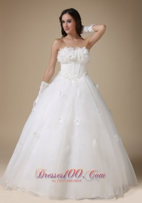 Discount Appliques Strapless Wedding Dress For Brides