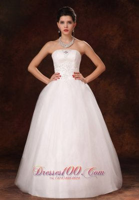 Strapless Appliques Church Wedding Dress Beaded