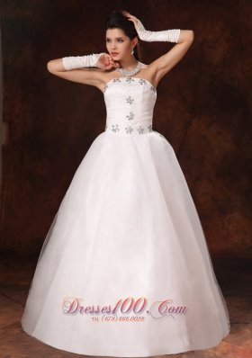 Customize Floor Length Beaded Bridal Gown Wedding Dress