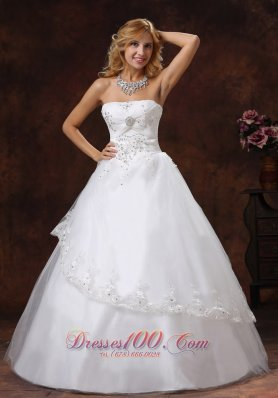 Embroidery Taffeta Strapless Beaded Wedding Dress