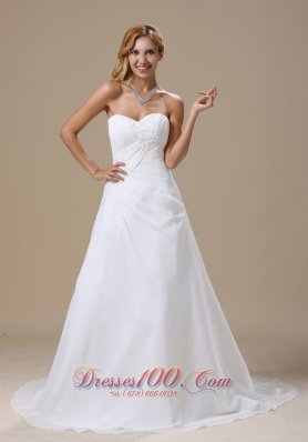 Chiffon Ruched Brush Appliques Sweetheart Wedding Dress