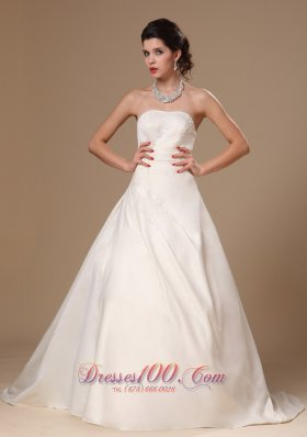 Beaded Church Wedding Dress Court Train Ball Gown